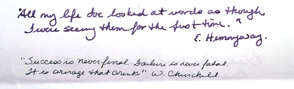 Clairefontaine Triomphe. Top quote in wet writing medium nib, bottom quote, dry XXXF nib. Some show-through visible from other side (wet writer, dark ink).